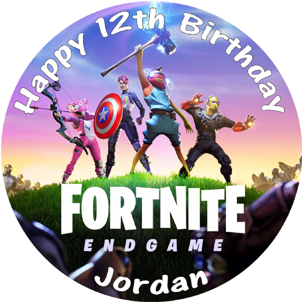 FORTNITE  ENDGAME PERSONALISED BIRTHDAY CAKE EDIBLE TOPPER